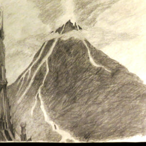 """Barad-dûr"" - pencil on white paper"