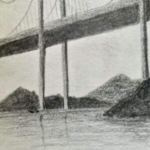 """Bridge"" - pencil on white paper"