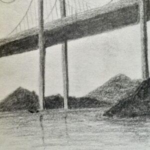"""Bridge"" - pencil on white paper"