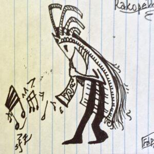 """""""Rakopelli"""" - black ink on notebook paper (sketch)"""