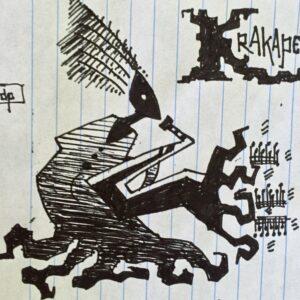 """""""Krakapelli"""" - black ink on notebook paper (sketch)"""