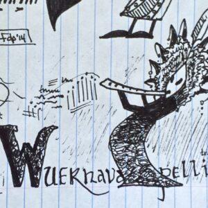 """""""Wuernavapelli"""" - black ink on notebook paper (sketch)"""