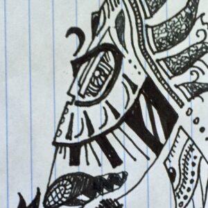 """""""Mask"""" - black ink on notebook paper (sketch)"""