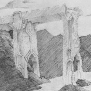"""The Gates of Moria"" - pencil on white paper (sketch)"