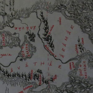 """""""Arämar"""" - map - black and red pen on white paper"""
