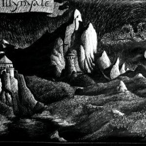 """""""Mount Illinyale"""" - black and blue pen on white paper"""