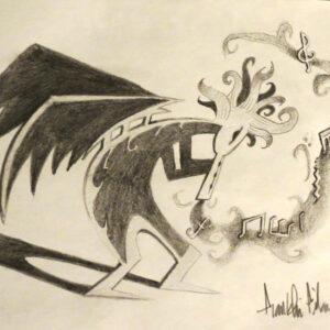 """""""Kokopelli"""" - pencil on white paper"""