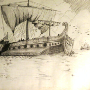 """Roman Ships at Sea"" - pencil on paper (sketch)"