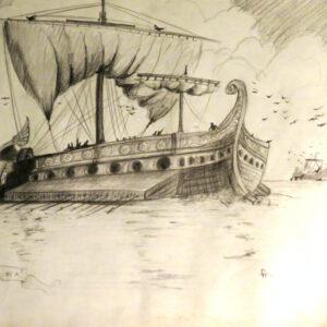 """Roman Ships at Sea"" - pencil on paper (sketch)"